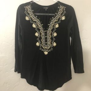Lucky Brand Boho beaded and embroidered Blouse GUC
